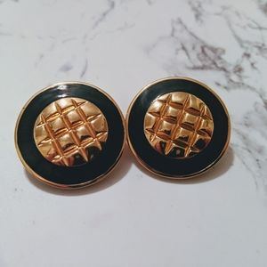 St. John Gold and Black Enamel Clip On Earrings
